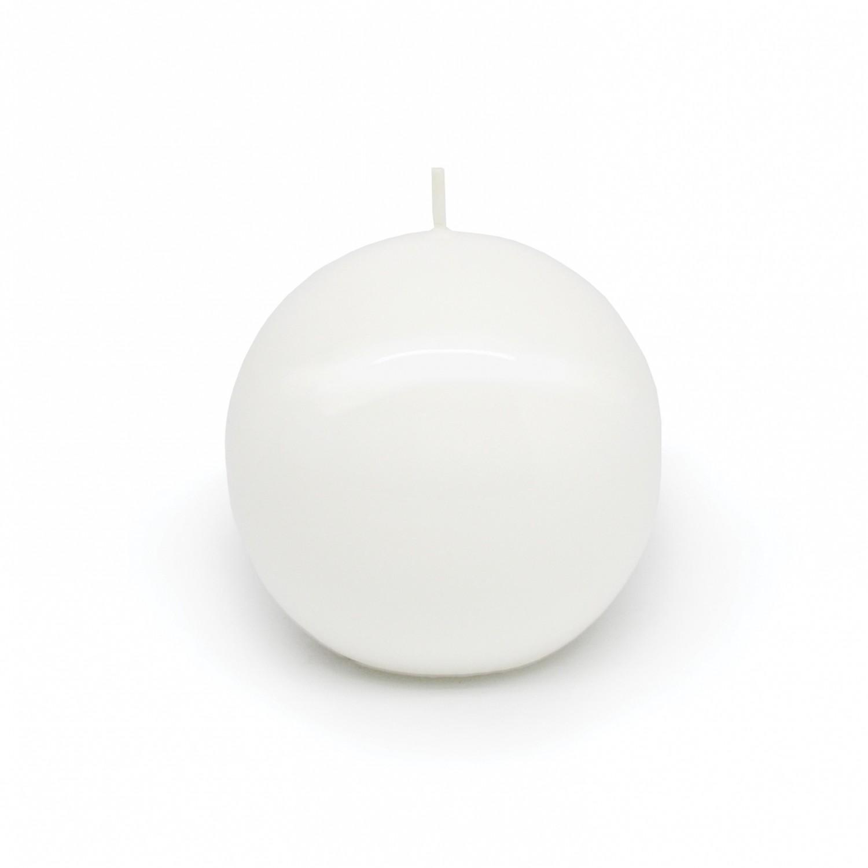 Vela esfera pequena branco lacado