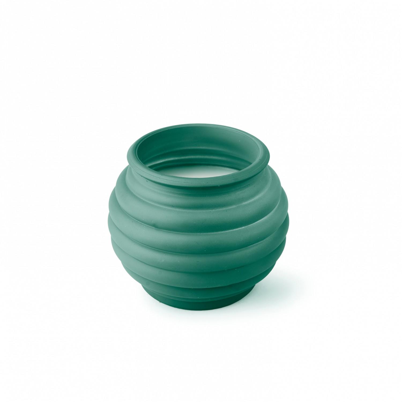 Vela vidro barrigas cor verde escuro