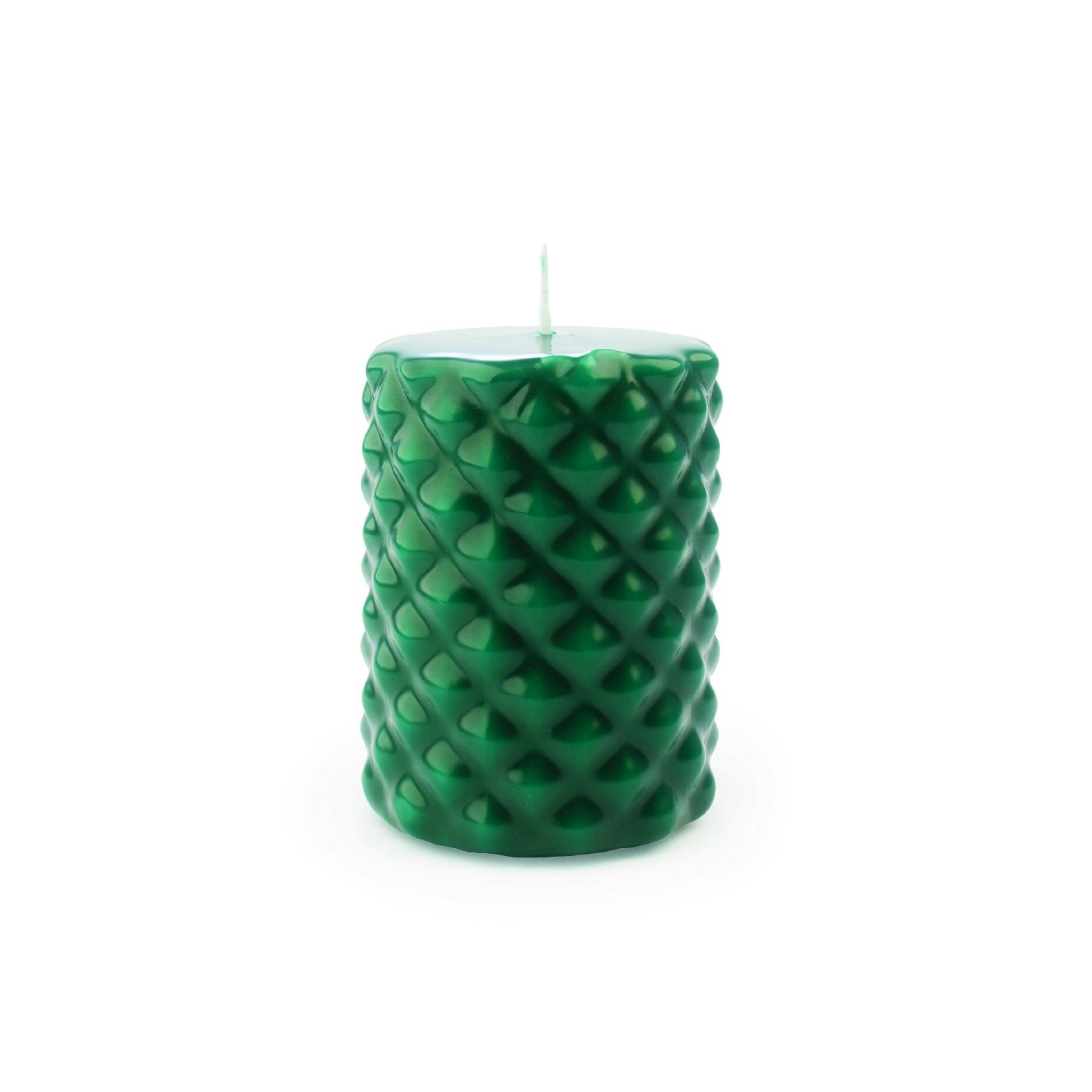 Vela pilar picos cor verde escuro