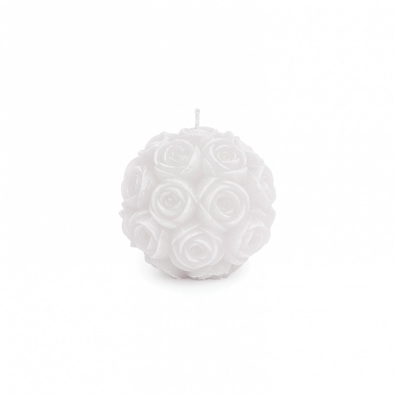 Vela Bola de Rosas pequena cor branco